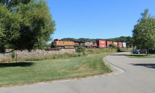 One of many trains that go by the campground.