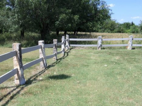 lime stone post rock fence