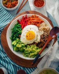 Bibimbap — Korean Mixed Rice Bowl with Vegetables and Meat