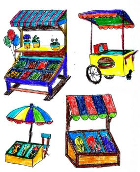 Party Foods Coloring Food Stands