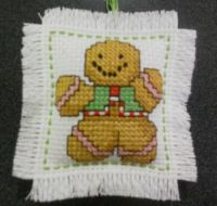 cross stitch gingerbread ornament