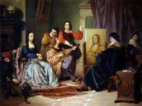 Leonardo da Vinci painting the Mona Lisa - Cesare Maccari