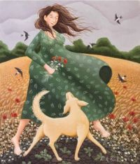 Lady And Her Dog Walking In A Field  By Lucy Almey Bird