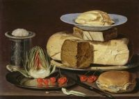 Clara Peeters--Still Life with Cheeses, Artichoke, and Cherries, ca. 1625