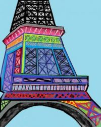 Abstract Eiffel Tower Drawing