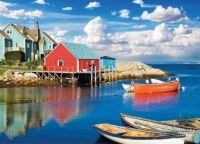 Fishing village of Peggy's Cove NS reflections