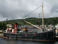 Clyde Puffer VIC32 moored at Corpach