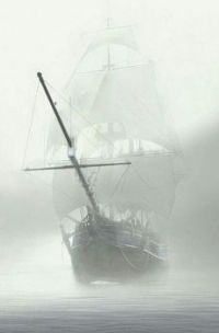 the sailing ship in the fog