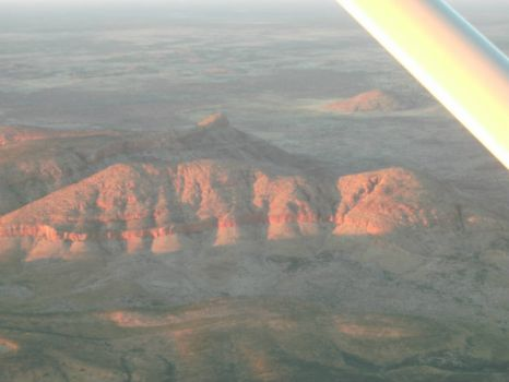 Hills from the charter plane heading to Yulara