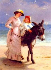 mother-and-child-promenading-on-a-beach-with-a-donkey