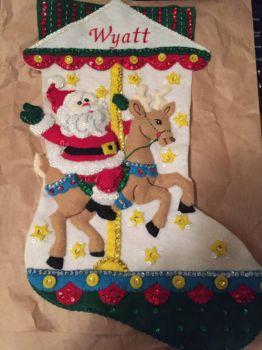 Christmas stocking for Wyatt.  10-25-19