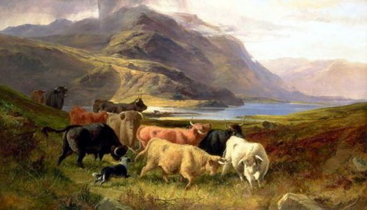 Highland Cattle with a Collie by Joseph Adam (1819-86)