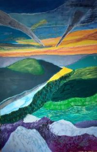 Lake heather rocks. Ladybower