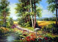 romantic country road painting