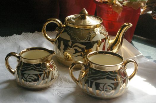 Gold and White Tea Set
