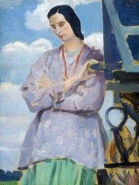 Dorelia Pensive by the Caravan   -  Augustus Edwin John (1878–1961)