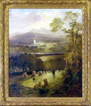 A Gamekeeper and His Dog .with Balmoral Castle Beyond by Joseph Adam (1819-86)
