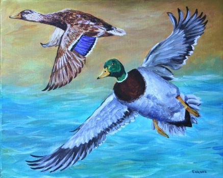 Mallards Painting by karl Wagner