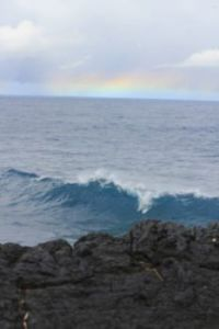 wave and rainbow