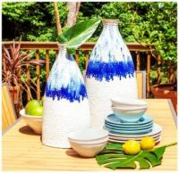 Two Tall Blue & White Table Vases