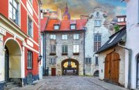 The Swedish Gate in Riga, capital of Latvia