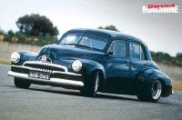 """Custom FJ Holden sedan with """"a firm grip on the tar""""."""