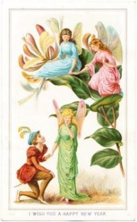 Vintage fairy postcard Happy New Year