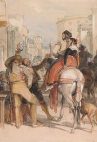 "John Frederick Lewis, ""A Street Scene in Grenada on the Day of the Bullfight""."