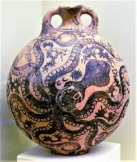 THEME ~ Oceans, Sea Life, Seas, Seashells Minoan clay vase showing an octopus, circa 1500 BCE.jpg
