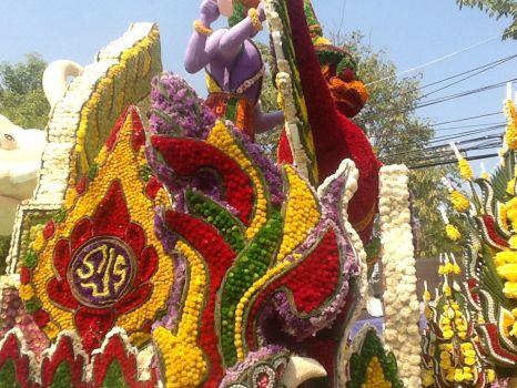 Float at flower parade.