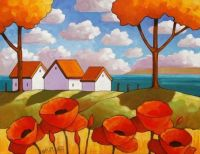 Coastal Red Poppies by Cathy Horvath Buchanan - medium