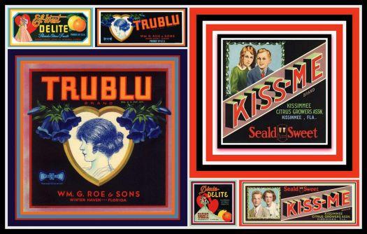 Vintage Fruit Crate Labels depicting Love, Hearts, Valentines