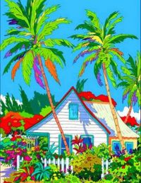 House With Colorful Plants