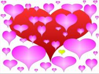 pink hearts, red and yellow heart