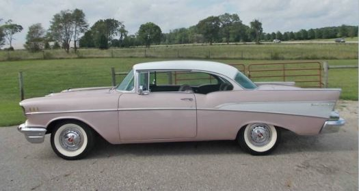 Stock '57 Chevrolet BelAir Two Door Hardtop, Dusk Rose & India Ivory