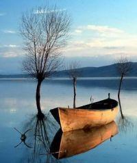 Small Row Boat On A Lake