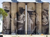 De-commissioned grain silos at Brim, N.W. Victoria, Australia, now a star attraction with these murals