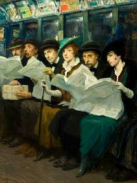 Francis Luis Mora, Evening News (also known as Subway Riders in New York City (1914)