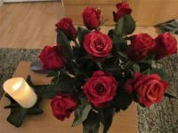 My roses and remembrance candle