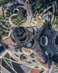 Aerial shot of Burj Khalifa.