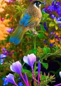 Colorful Bird Among the Flowers