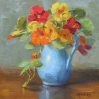 Nasturtiums in Blue Pitcher