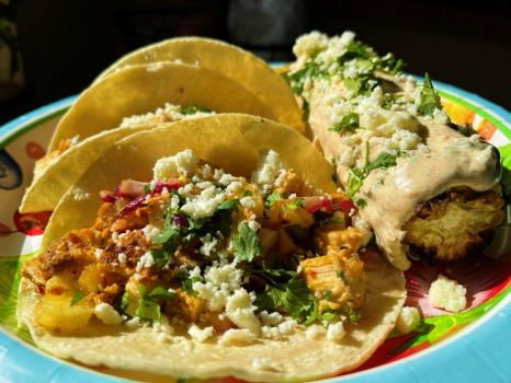 Tacos with Pollo al Pastor and elote (Mexican corn on the cob)