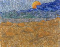 Landscape with Wheat Sheaves and Rising Moon - Vincent van Gogh - July 1889