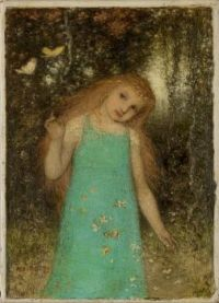 Young Girl with Butterflies, Matthijs Mari, 1873