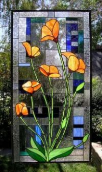 Stained Glass Floral Panel