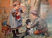 Themes Vintage Illustrations/pictures - Children with kitten