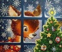 Deer with Christmas tree