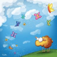 Sheep with butterflies