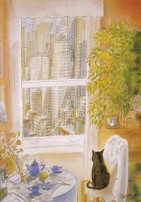 New Yorker cover - Cat at the Window